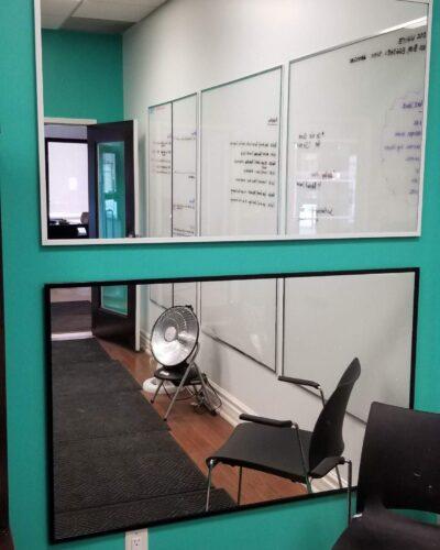 "Vanity Mirror w/ 5/8"" J-Mold Frames - White Electrostatic & Black Electrostatic"