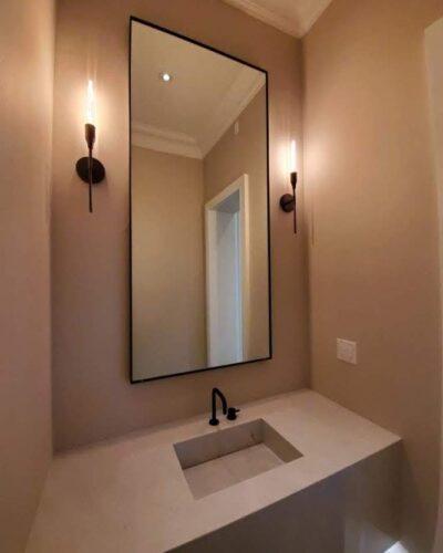 "Vanity Mirror w/ 3/8"" J-Mold Frame - Matte Black"