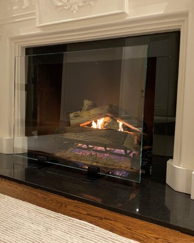Fireplace Tempered Glass Screen w/ Clamps