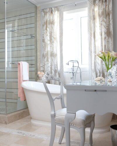 Sarah Richardson Design - Ensuite Retreat - Shower Enclosure & Glass Makeup Tabletop - March 2011