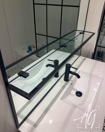 Custom Vanity Mirror with Glass Shelf
