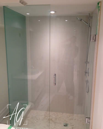 Glass Shower Enclosure with 1 pc. Frosted Acid Etched Glass