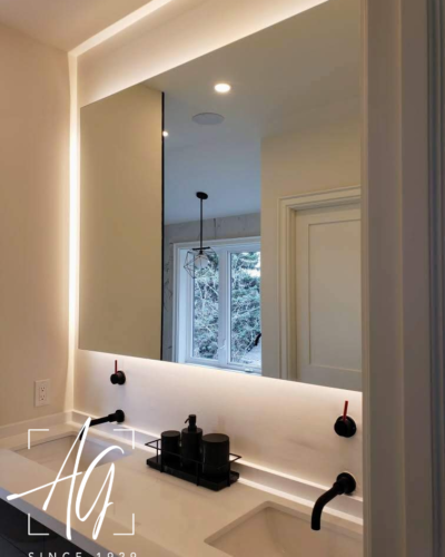 "Frameless Backlit Mirror w/ 1"" French Cleat Backing"