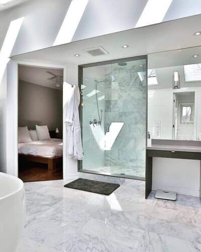 Frameless Shower & Vanity Mirror Wall Photo Credit: Barbini Corporation