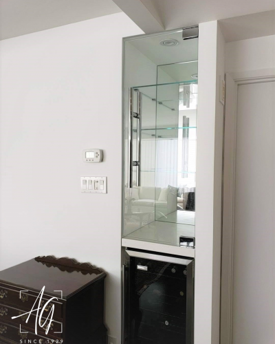 Glass Bar Cabinet with Glass Shelving & Mirror Backing